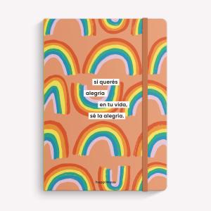 Cuaderno Cosido A5 Rayado Happimess Sé la Alegría Arcoíris