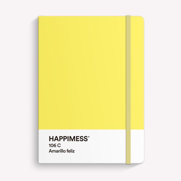Cuaderno Cosido A5 Punteado Happimess Amarillo Feliz