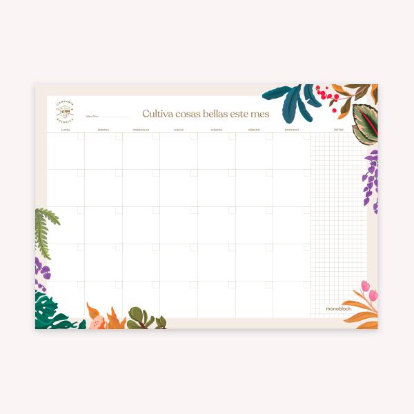 Planner Mensual Block Compañía Botánica - Día