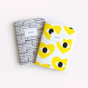 Pack de 10 Libretas Corazón Amarillo