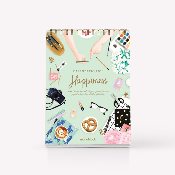 Pack de 5 calendarios de escritorio 2018 Happimess