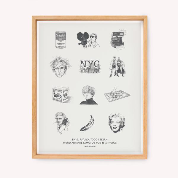Wall Art Warhol Dibujos 39x49